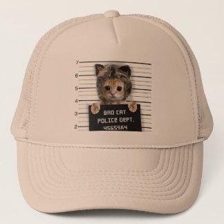 mugshot cat - crazy cat - kitty - feline trucker hat