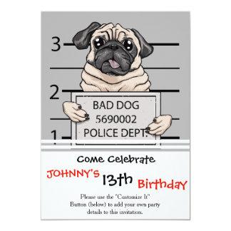 mugshot dog cartoon. card