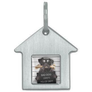 Mugshot dog,funny pug,pug pet ID tag