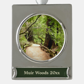 Muir Woods Path II Nature Photography Silver Plated Banner Ornament