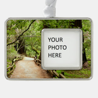 Muir Woods Path II Nature Photography Silver Plated Framed Ornament