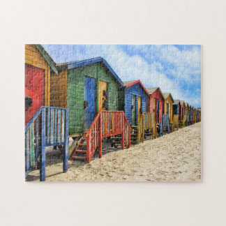 Muizenberg Colourful  Cottages on the  Beach Jigsaw Puzzle