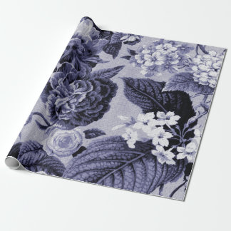 Mulberry Blue Purple Vintage Botanic Floral Toile Wrapping Paper
