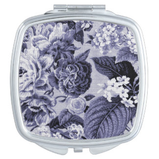 Mulberry Blue Vintage Floral Toile Fabric No.1 Makeup Mirrors