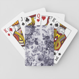 Mulberry Blue Vintage Floral Toile Fabric No.3 Playing Cards