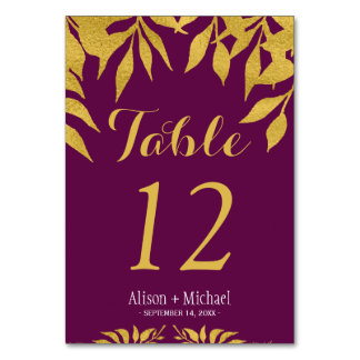 Mulberry fall gold leaves wedding table number