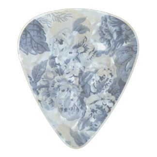 Mulberry & Indigo Blue Floral Toile 2 Sided Pearl Celluloid Guitar Pick