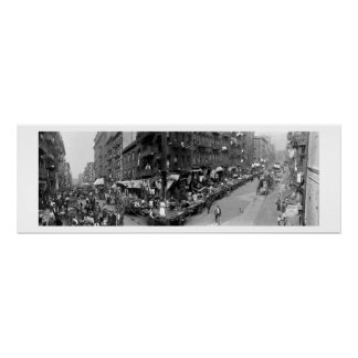 Mulberry St Mrkt NY panorama 1908 Poster