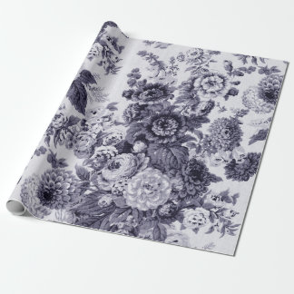 Mulberry Tone Black & White Vintage Floral Toile Wrapping Paper