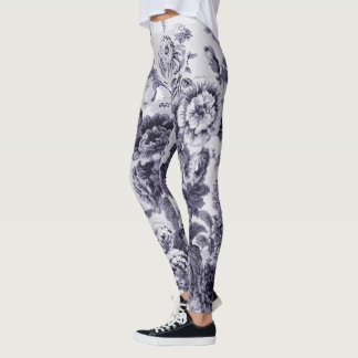 Mulberry Toned Black & White Vintage Floral Toile Leggings