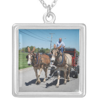 mule day parade in square pendant necklace
