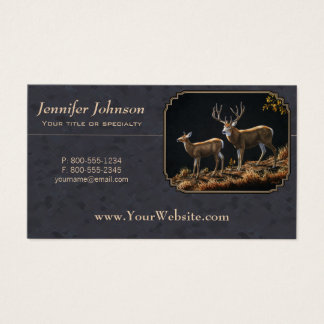 Mule Deer Buck and Doe Gray Custom Business Card