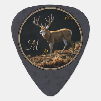 Mule Deer Buck Charcoal Gray Monogram Guitar Pick
