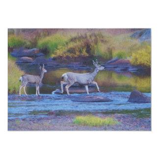 Mule Deer Doe and Fawn 13 Cm X 18 Cm Invitation Card