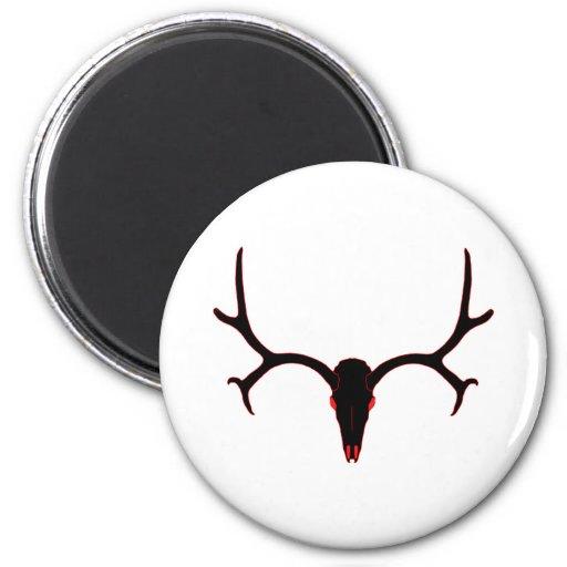 Mule Deer Skull Black and Red Fridge Magnet