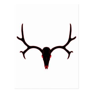 Mule Deer Skull Black and Red Postcard