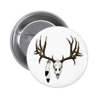 Mule deer skull eagle feather pins