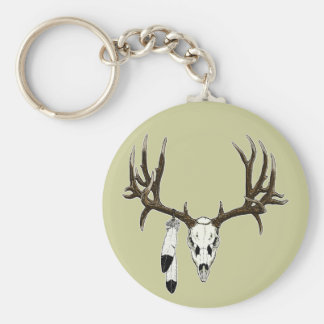 Mule deer skull eagle feather basic round button key ring