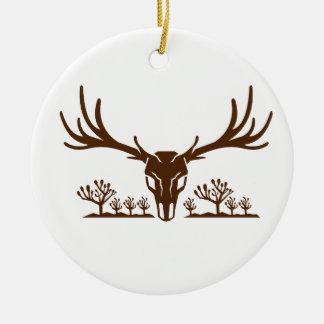 Mule Deer Skull Joshua Tree Icon Ceramic Ornament