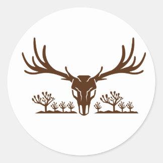 Mule Deer Skull Joshua Tree Icon Classic Round Sticker