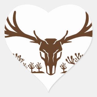 Mule Deer Skull Joshua Tree Icon Heart Sticker