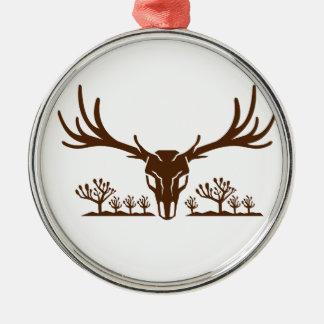 Mule Deer Skull Joshua Tree Icon Metal Ornament