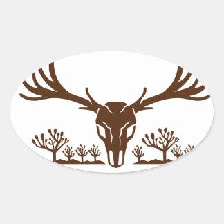 Mule Deer Skull Joshua Tree Icon Oval Sticker