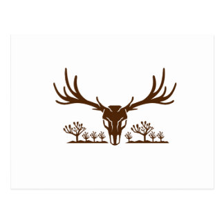 Mule Deer Skull Joshua Tree Icon Postcard