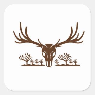 Mule Deer Skull Joshua Tree Icon Square Sticker