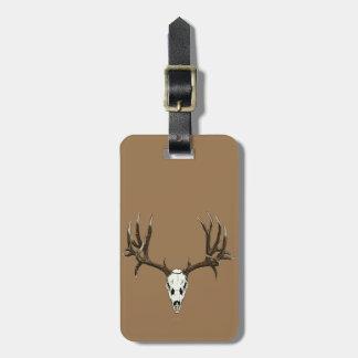 Mule deer skull travel bag tags
