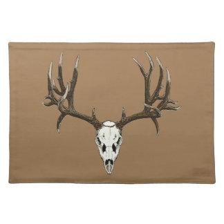 Mule deer skull cloth place mat