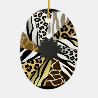Multi Animal Prints Zebra Tiger Add Text Initial Ceramic Ornament