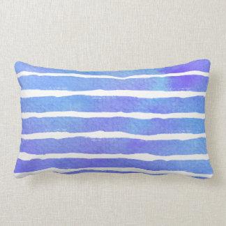 Multi Blue Purp Striped Watercolor - All Fabrics L Lumbar Cushion