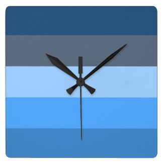 Multi-Blue Square Wall Clock