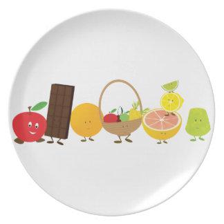 Multi-character food cartoon dinner plate