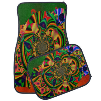 Multi-Color Abstract Decorative Set of 4 Car Mats