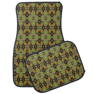 Multi-Color Abstract Lime Orange Set of 4 Car Mats