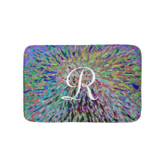Multi Color Abstract Monogrammed Plush Bath Mat