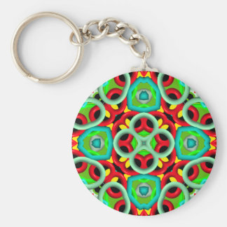 multi color Abstract Pattern Keychain Basic Round Button Keychain