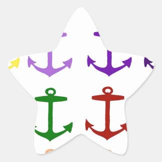 Multi color anchor pattern fun girly modern fun star stickers