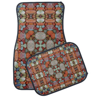 Multi-Color Artistic Abstract Set of 4 Car Mats