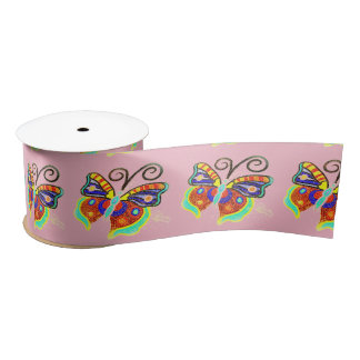Multi-color butterflies any background color satin ribbon