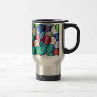 Multi Color Button Background Travel Mug