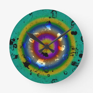 Multi-Color Circled Pattern Round Clock