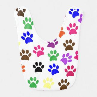Multi-color colorful paw print baby bib