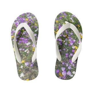 Multi Color Crocus Spring Flowers Kids Flip Flops Thongs