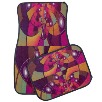 Multi-Color Decorative Design Set of 4 Car Mats