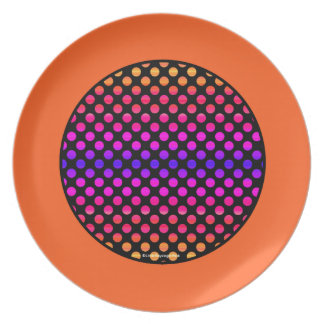 Multi-color Dots Orange Border Plate