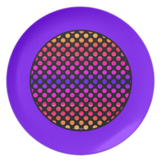 Multi-color Dots Purple Border Plate