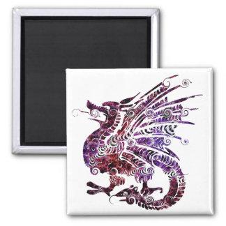 Multi-Color Dragon Magnet 2 Inch Square